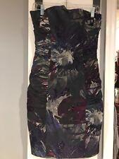 Betsy Johnson Black Purple Strapless Bustle Dress size 6