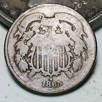 1865 Two Cent Piece 2C Ungraded Choice Civil War Good Date US Copper Coin CC7061