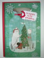 "Carlton ~ ""I'M THANKFUL FOR YOU AT CHRISTMAS..."" GREETING CARD + RED ENVELOPE"