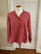 Chico's No Iron Red White Button Front Cotton Long Sleeve Shirt Top Size 2