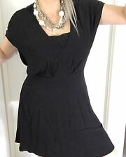 WITCHERY WOMENS DRESS BLACK STRAPS TAILORED LINED WORK PARTY VISCOSE SZ 12