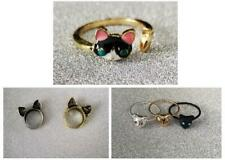 Cute Cat Ring Sets - 3 Types to choose - Sizes K L M N -  Cat Ears / Diamante