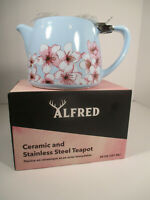 Alfred Ceramic & Stainless Steel Teapot Blue with Pink Flowers 20 oz NIB