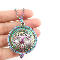 C966 Rainbow Tree Pearl Cage Round Charm Necklace 20""