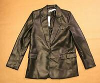 Zara Women's Single-Button Faux Leather Blazer MC7 Black 4369/044 Size XS NWT