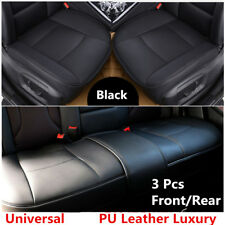 Universal Car Full Set Seat Covers PU Leather Front&Rear Protector Styling Black
