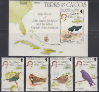 BIRD282 - TURKS/CAICOS 1985 FAUNA BIRDS VOGEL OISEAUX AUDUBON STAMPS SC651-5 MNH