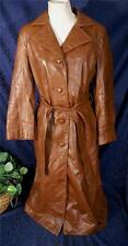 Nice Vintage 70s Galce Lamb DAN DI MODES Belted Brown Leather Trench Coat Sz S
