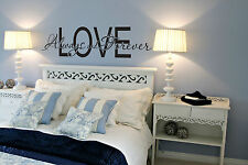 Love Always and Forever Couple Gift Quote Wall Vinyl Decal Bedroom Removable