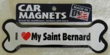 "Dog Magnetic Car Decal, Bone Shaped, I Love My Saint Bernard, Made in Usa, 7"""