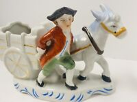 Vintage Porcelain Donkey/Cart Colonial Man Small Ceramic Planter Japan- Lovely!