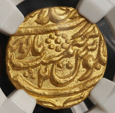 1760, India, Mughal Empire, Shah Alam II. Hammered Gold Mohur Coin. NGC MS-62!