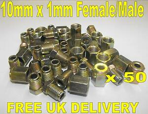 "3/16"" Copper Brake Pipe Fittings.. 50 x Female Male.. Metric Nuts.."