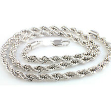 White Gold Filled Twist Design Strong Chain, Silver Toned- 60 cm x 6 mm