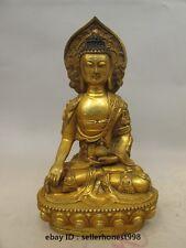 12 Tibet Bronze gilt Wearing Buddhist clothing Sakyamuni Medicine Buddha Statue