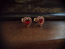 Vintage Jewellery Ruby Red Crystal Heart Pierced Earrings. Gold Plated