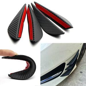 4x Carbon Fiber JDM Front Lip Splitter Fins Body Spoiler Canards Refit Bumper