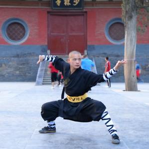 Cotton Black Shaolin Monk Robe Kung Fu Tai Chi Wing Chun Martial Arts Set