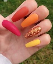 20 Set Autumn Mix Hand Painted Press On Fake False Nails Glue Glitter Matte