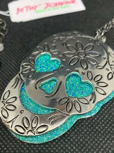 BETSEY JOHNSON Silver-Tone & Turquoise Glitter Double Skull Pendant Necklace NWT