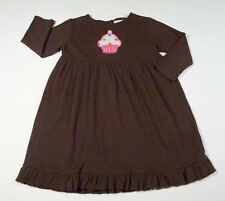 JUST DUCKY ORIGINALS GIRLS 4 5 BROWN DRESS PINK CUPCAKE BIRTHDAY CELEBRATION 4-5