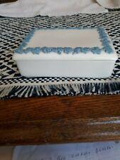 Vintage Wedgwood Queens Ware Embossed Light Blue on Cream Trinket Box