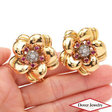 Antique Retro Diamond Ruby 18K Gold Large Flower Clip Earrings 26.0 Grams NR