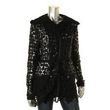 Bagatelle 6666 Womens Black Crochet Lace Hooded Anorak Jacket L BHFO