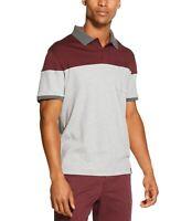 DKNY Men's Colorblock Interlock Polo Shirt, Maroon & Heather Grey
