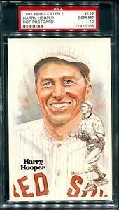 HARRY HOOPER 1981 PEREZ STEELE POSTCARD PSA 10 GEM MINT BOSTON RED SOX  HOF
