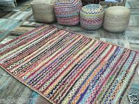 Gorgeous Braided Rug - Striped with Jute & Multi Coloured Fabric  - Six Sizes