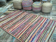 Gorgeous Braided Rainbow Rug Striped Jute Multi Coloured Cotton Mixed Fabric
