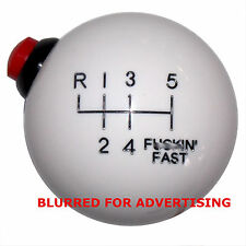 White 12 Volt Side Button Mustang F-in Fast -L 6 Speed shift knob M12x1.25 thrd
