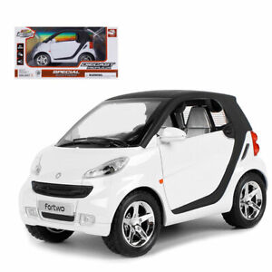 1:24 Smart ForTwo Model Car Alloy Diecast Toy Vehicle Pull Back White Kids Gift