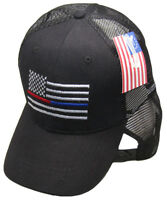 Black MESH USA Thin Red Blue Line Low Profile Hat Baseball First Responders