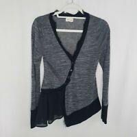 Anthropologie Meadow Rue Small Cardigan Sweater Black Gray Asymmetrical