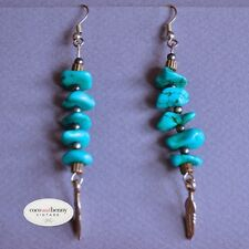 *Vintage Long 80's Turquoise Silver Feather Drop Earrings