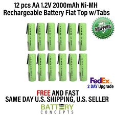 12Pcs 1.2V 2000mAh Ni-MH AA Rechargeable Battery With Tabs For Torch Headlamp E