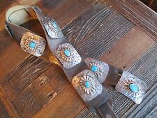 Genuine Old Pawn Navajo Concho Belt Silver and Turquoise