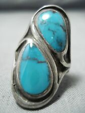 TREMENDOUS VINTAGE NAVAJO RED MOUNTAIN TURQUOISE STERLING SILVER RING