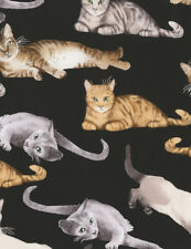 Fabric 100% Cotton Timeless Treasures Relaxing Cats C5751