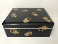 Rare Antique Meiji Period Japanese Gold & Black Lacquered Box w/2 Japanese Crest