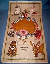 "VTG Linen Souvenir TEA TOWEL Australian Wild Life Animal/Map NWT 31 1/2""X18 1/2"""