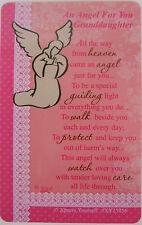 """Pocket Keepsake Message""""An Angel For You Granddaughter""""Wallet/Purse Card/Envelop"""