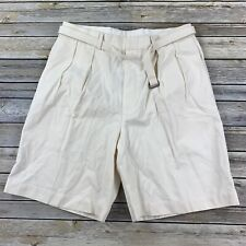 Polo Golf Ralph Lauren Mens 32 Shorts Silk Belted White Sand Pleated New