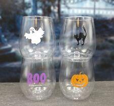 4-pack Wine-Oh! Designer BPA Free Plastic Shatterproof Wine Glass HALLOWEEN