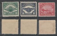 US 1923 AIR MAIL SET OF ALL 3 STAMPS ALL MOUNTED MINT C4 - C6