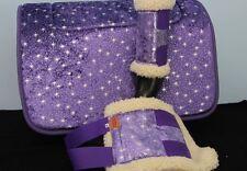 CAPRIOLE HORSE ACCESS SPARKLE STARS PURPLE SADDLE CLOTH/PAD BOOTS SET PONY SIZE