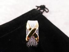 Mens Striking Silver & Gold Plated X Cross Ring Size 8/Q with Free Gift Bag