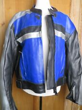 LADIES PROTO SPEEDY SIZE 14  MOTORBIKE MOTORCYCLE JACKET BLUE BLACK silver